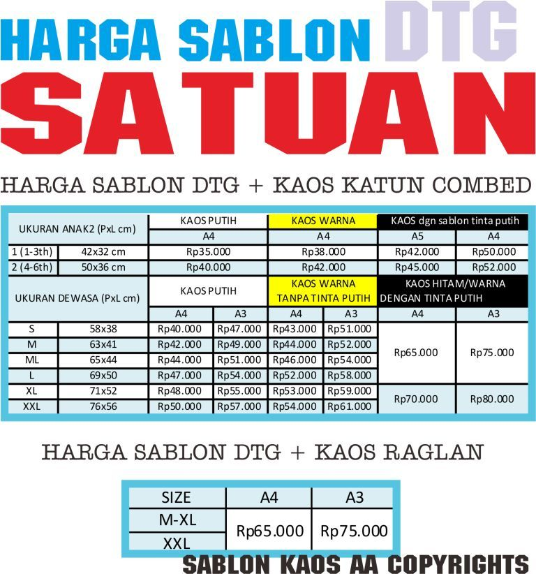 harga sablon DTG update april 2013