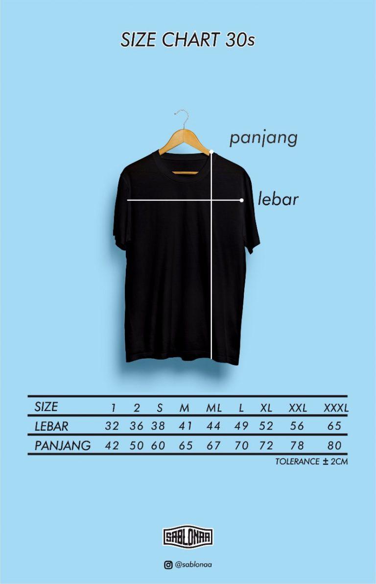 Size Chart Kaos 30s